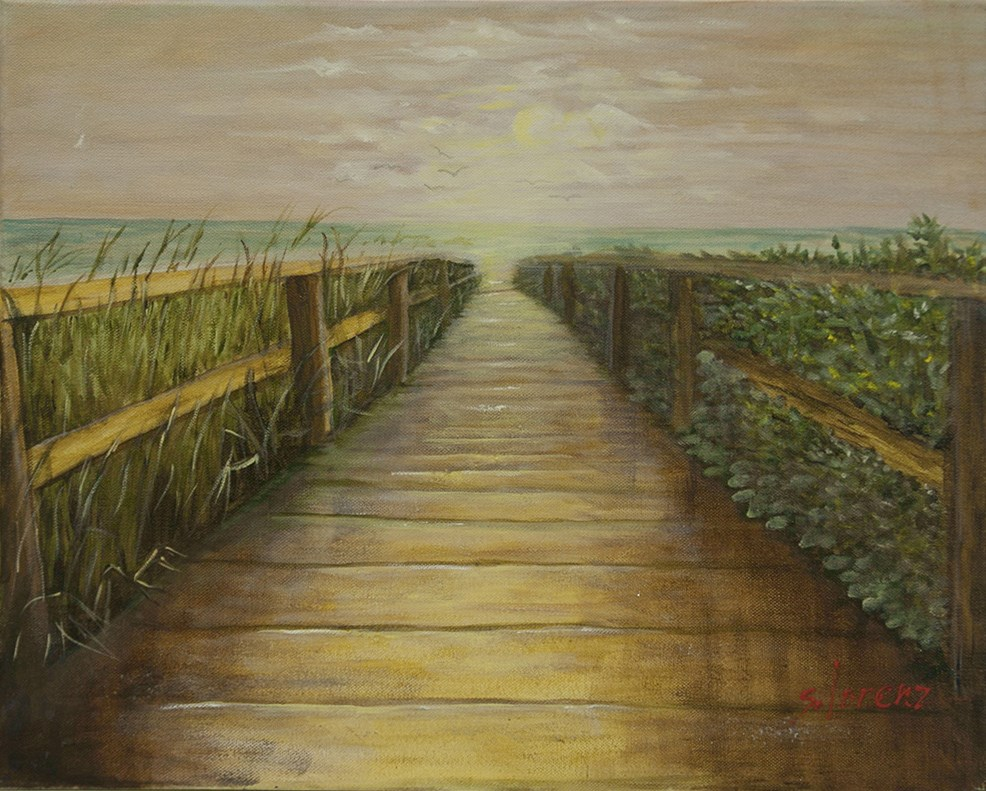 """On the Boardwalk"" original fine art by Sue Lorenz"