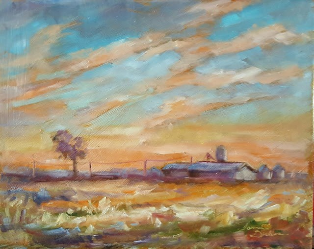 """Sunrise over the Farm"" original fine art by Tammie Dickerson"