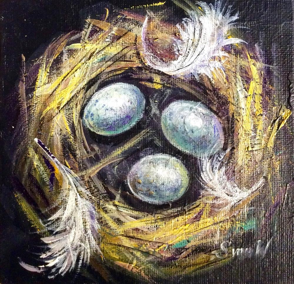 """Bird Nest Painting"" original fine art by Sonia von Walter"