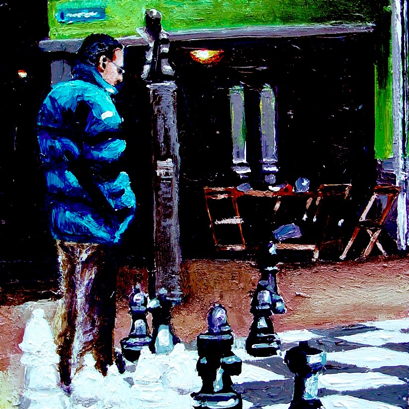 """Chess- Street Scene Painting Of Man Playing Outdoors Chess"" original fine art by Gerard Boersma"