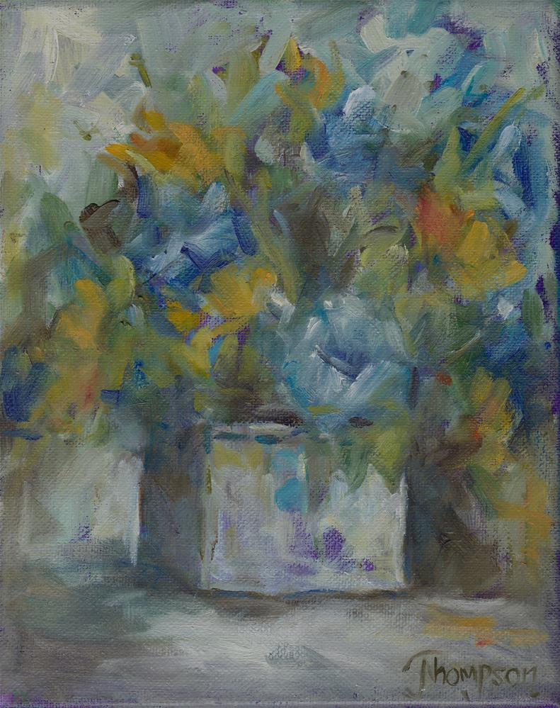 """Blue and yellow flowers"" original fine art by Norma Thompson"