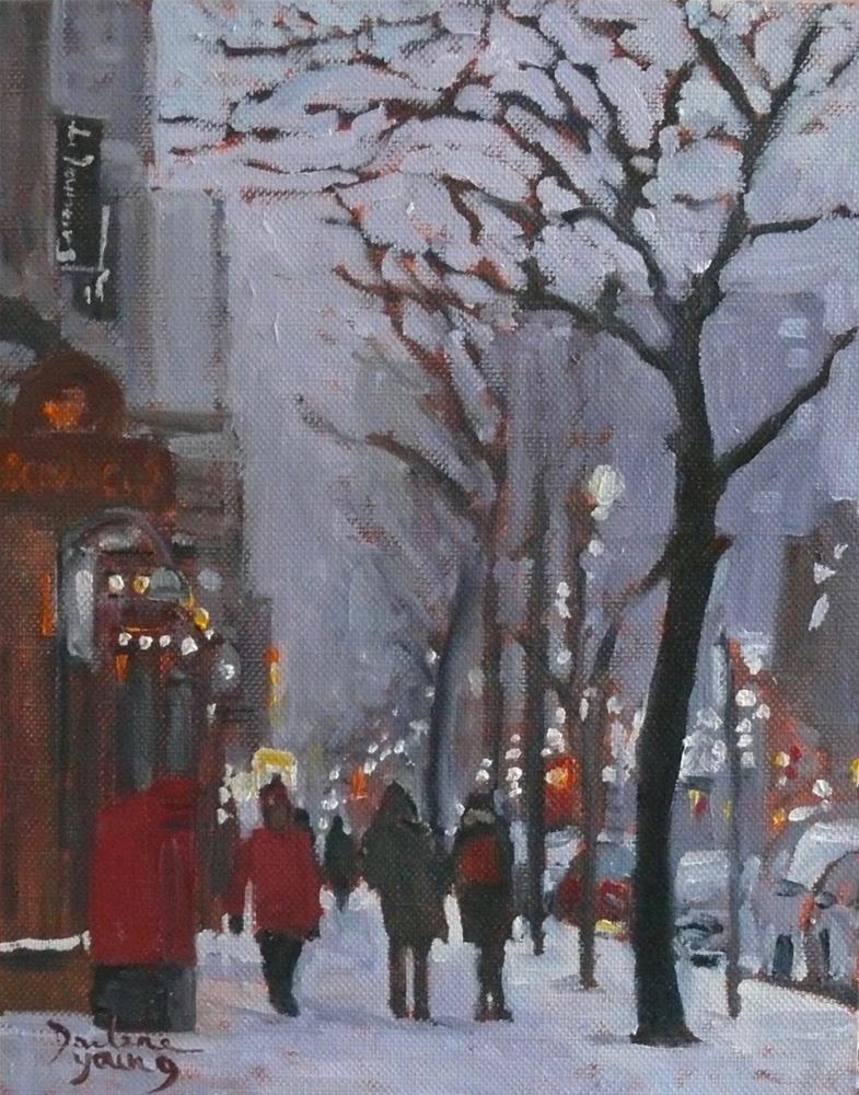 """893 Montreal Winter Scene, Ste-Catherine Night, 8x10 oil on board"" original fine art by Darlene Young"