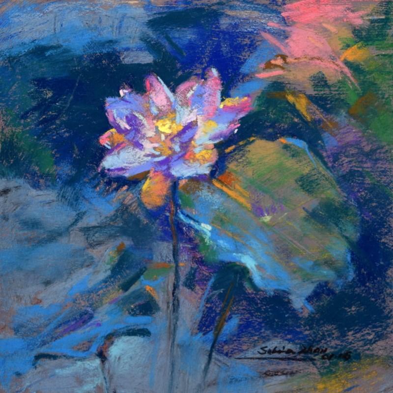 """Lily Pond under the Moon"" original fine art by Sabrina Zhou"