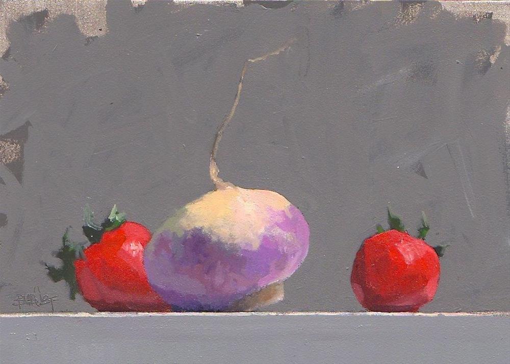 """#315 Turnip and Strawberries Sketch"" original fine art by Brian Burt"