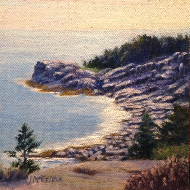 """Monhegan Cliffs"" original fine art by Judith McKenna"