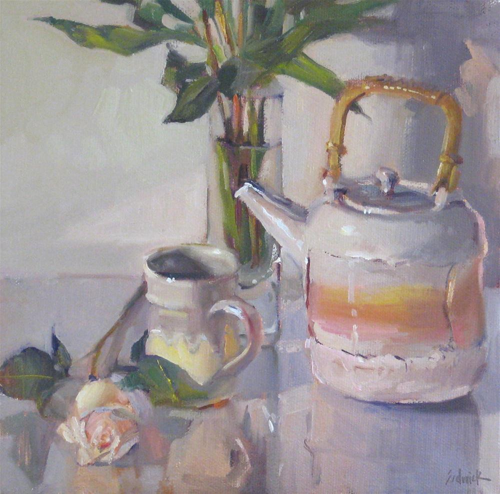"""High Tea still life oil daily painting teapot floral flowers white rose"" original fine art by Sarah Sedwick"