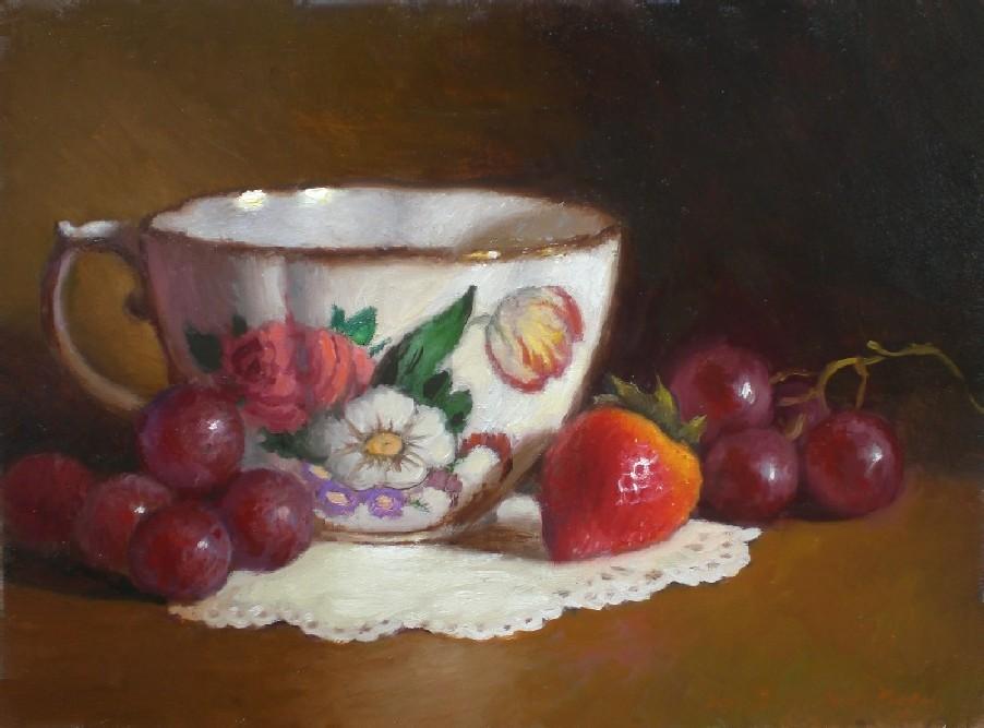 """Tea cup and Strawberry"" original fine art by Debra Becks Cooper"