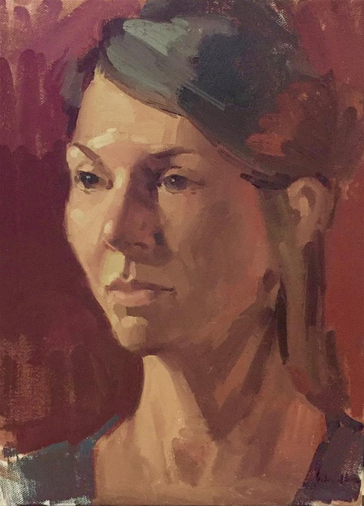 """Adrian on Red"" original fine art by Sarah Sedwick"