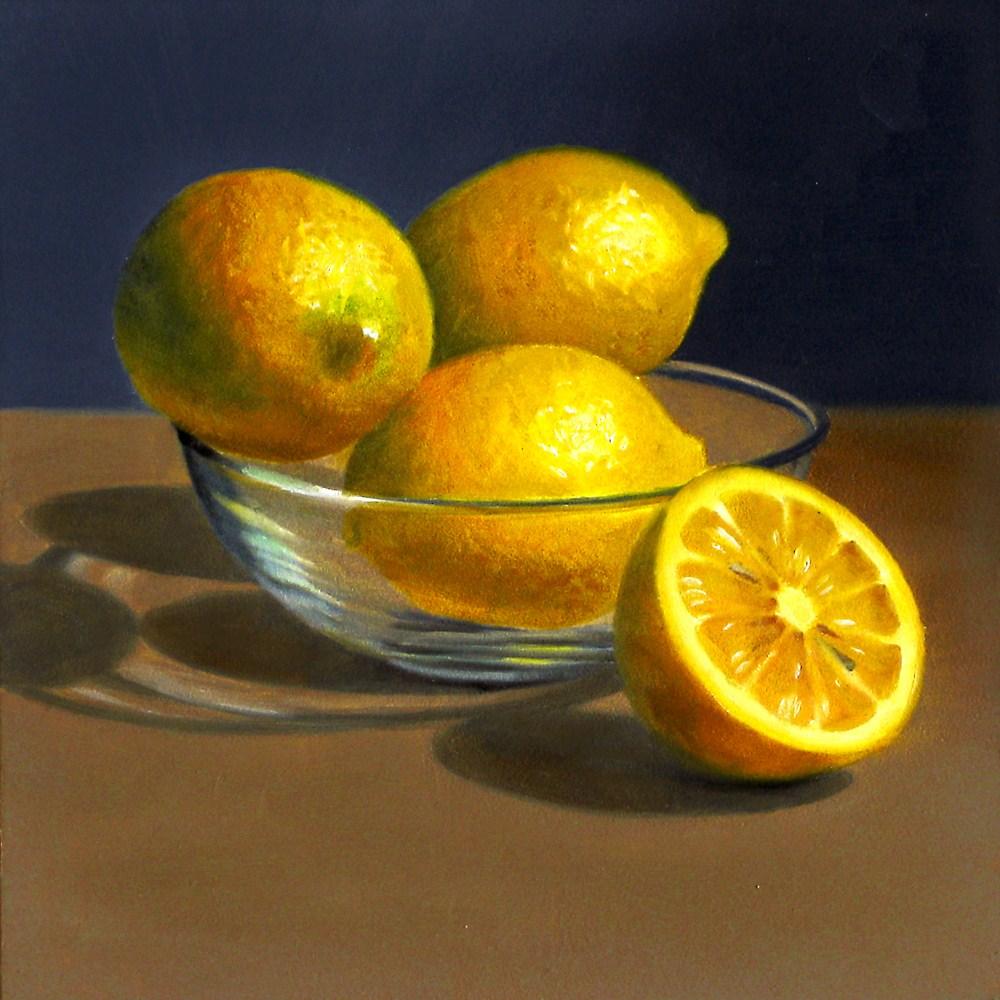 """Lemons in Glass Bowl"" original fine art by Nance Danforth"