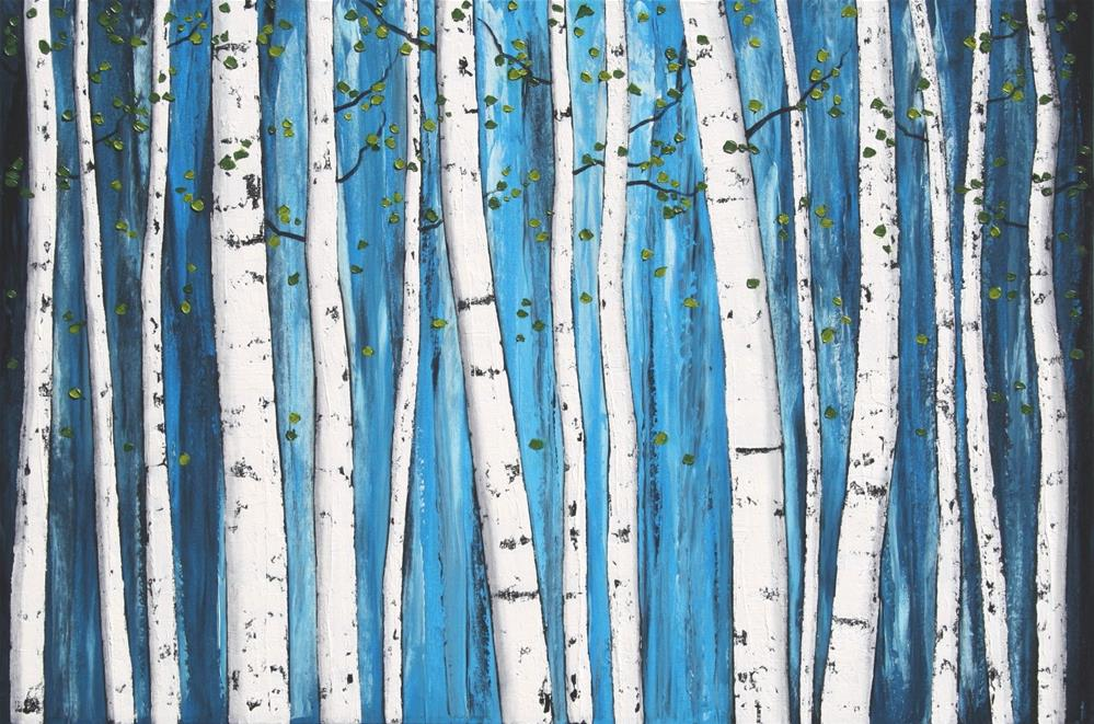 """White Birch Grove"" original fine art by Sage Mountain"
