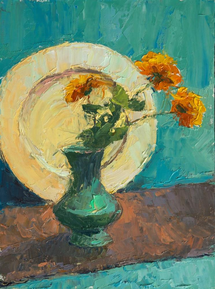 """Marigolds"" original fine art by Kathy O'Leary"