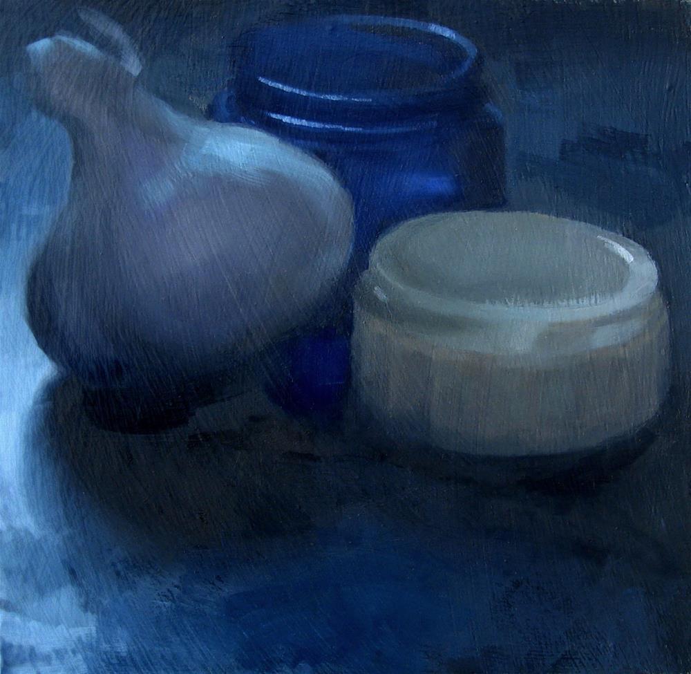 """Garlic Bulb with Antique Noxema Jars (no.106)"" original fine art by Michael William"