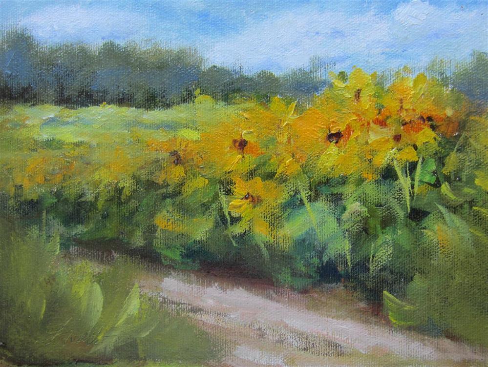 """Sunflower Fields of France"" original fine art by Pat Fiorello"