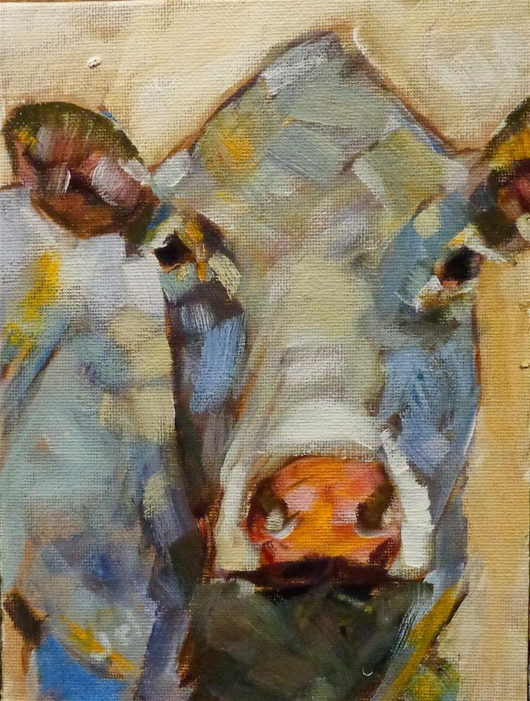 """Cow 9"" original fine art by Jean Delaney"