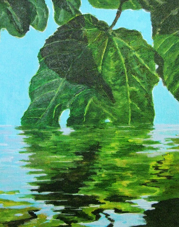 """Leaves Reflecting"" original fine art by Nan Johnson"