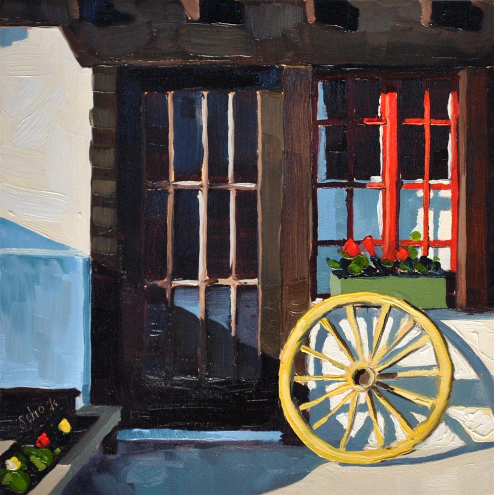 """Swiss Window III - 6x6"" original fine art by Sharon Schock"