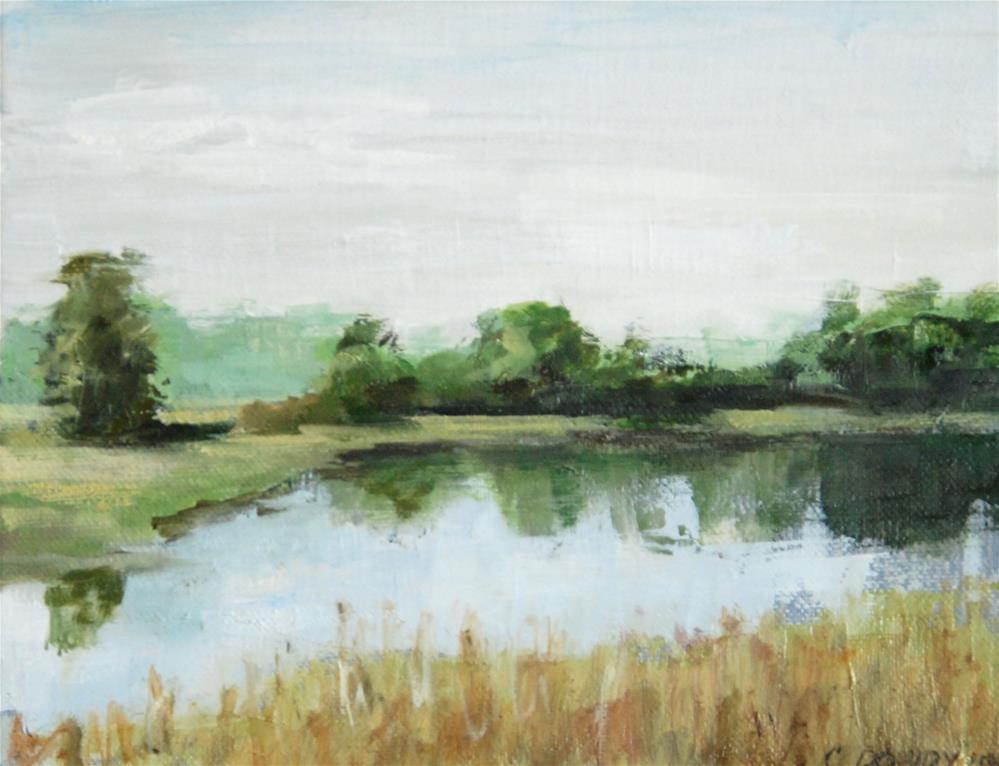 """""""Oil Sketch: NC Pond"""" original fine art by Christina Dowdy"""