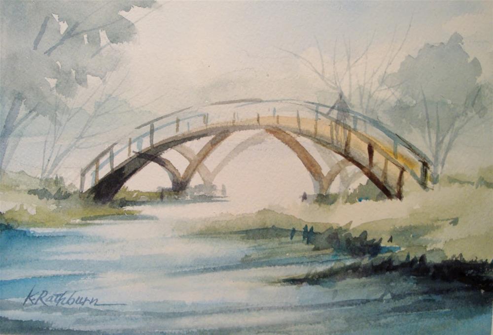 """Miller Bridge in Fog"" original fine art by Kathy Los-Rathburn"