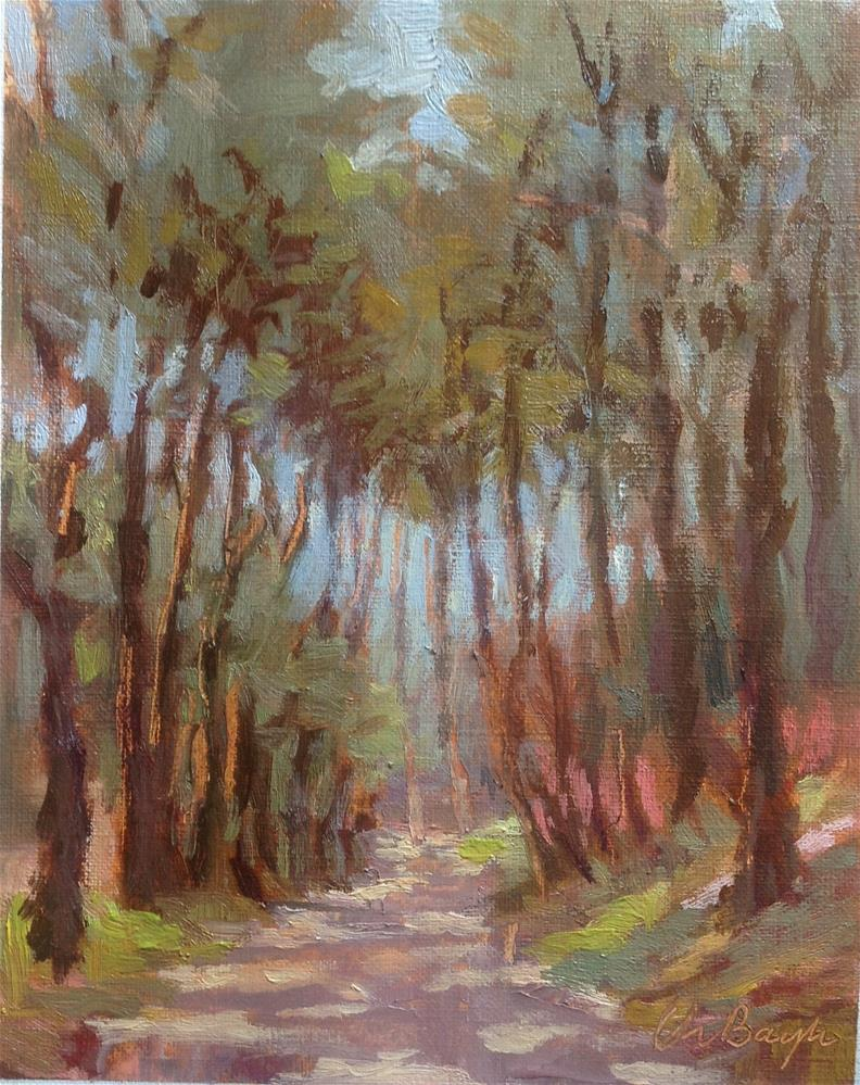 """Path in the forest"" original fine art by Christine Bayle"