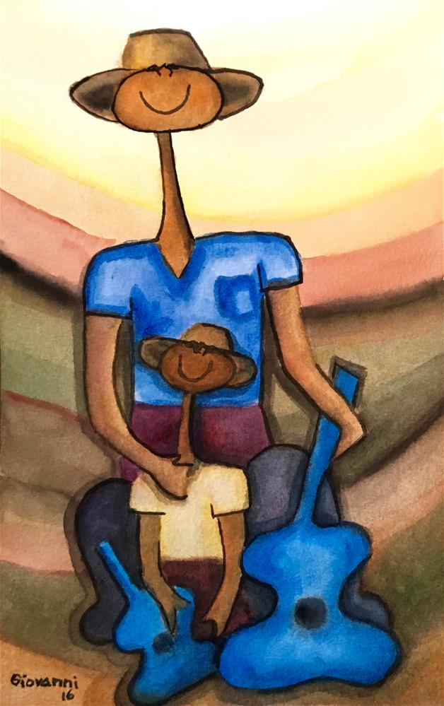 """Peasant and son with guitars"" original fine art by Giovanni Antunez"
