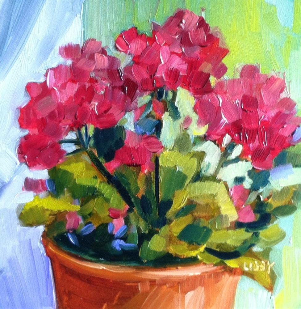 """3.3 Geraniums"" original fine art by Libby Anderson"
