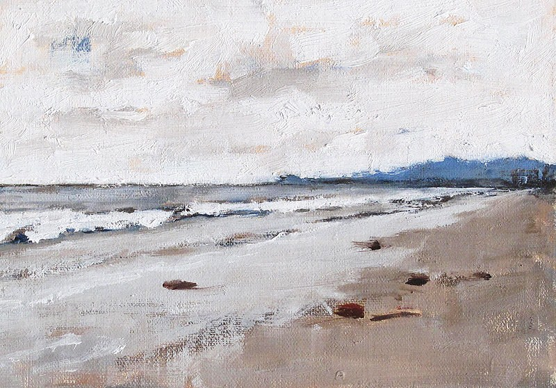 """Cloudy Beach Morning, Santa Barbara Painting"" original fine art by Kevin Inman"