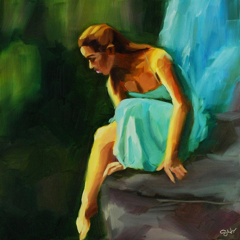 """Aqua"" original fine art by Janette Harter"