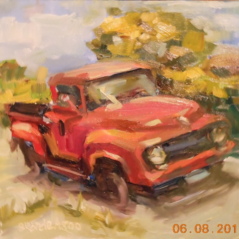 """Old Red Truck"" original fine art by Brande Arno"