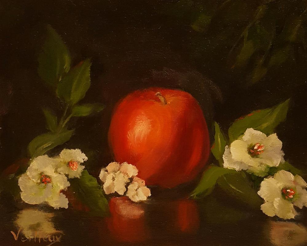 """Apple and Blossoms"" original fine art by Jessica Veilleux"