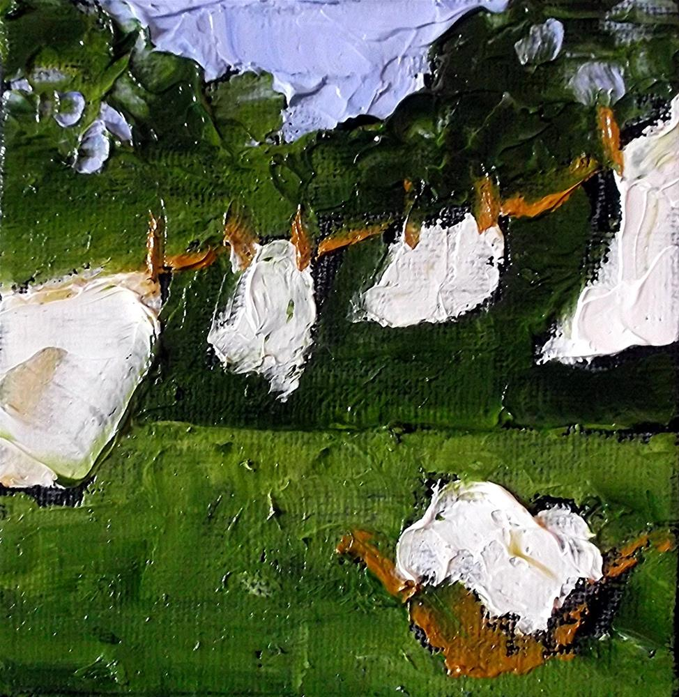 """Miniature Impressionist Painting 4x4 Backyard Clothesline Laundry Washday LANDSCAPE Lynne French Art"" original fine art by lynne french"