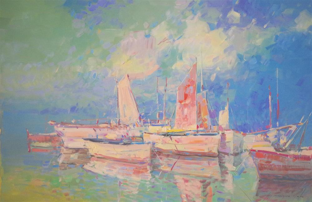 """Sail Boats, Seascape oil painting, Handmade art, Impressionism"" original fine art by V Y"