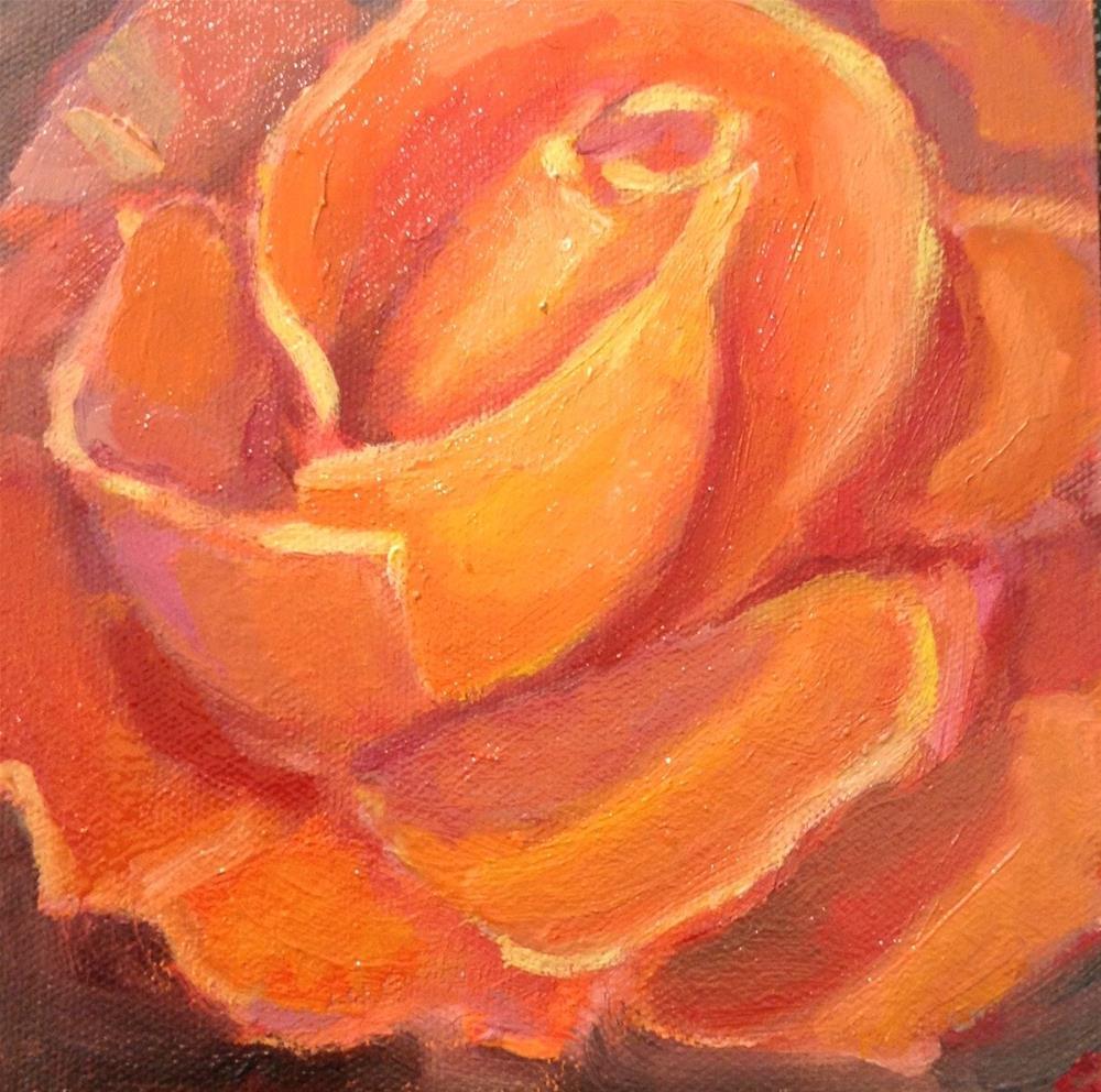 """Peach Rose"" original fine art by Marcia Bergtholdt"