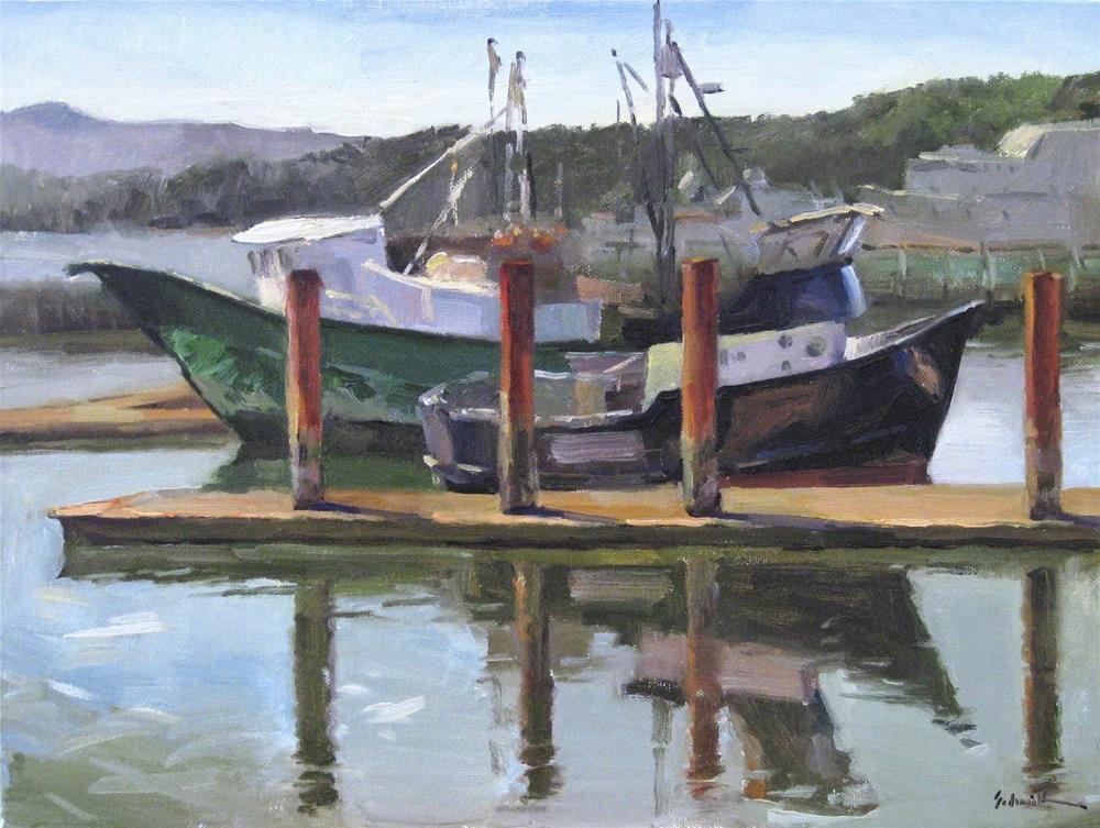 """""""The Sea Hunt and the Heidi Sue"""" original fine art by Sarah Sedwick"""