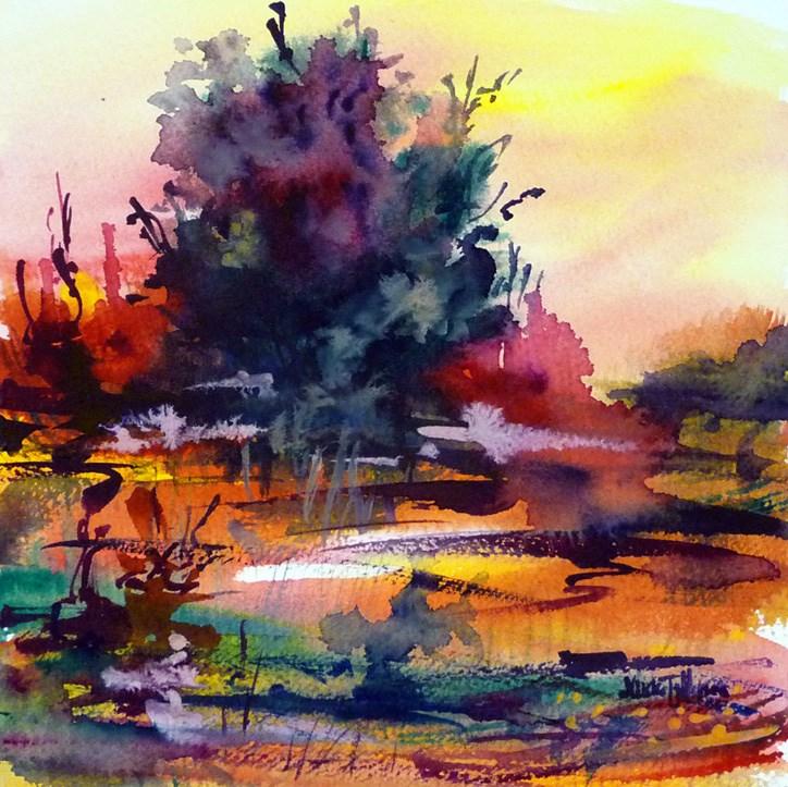 """""""Sunset landscape"""" original fine art by Mikko Tyllinen"""