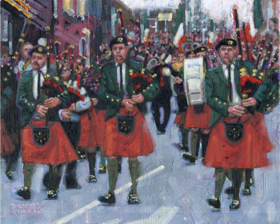 """Irish Bagpipe Parade"" original fine art by Donald Curran"
