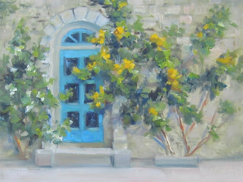 """Yellow Roses, Blue Door"" original fine art by Pat Fiorello"