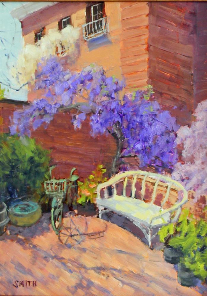 """Filoli Garden Bench"" original fine art by Barbie Smith"