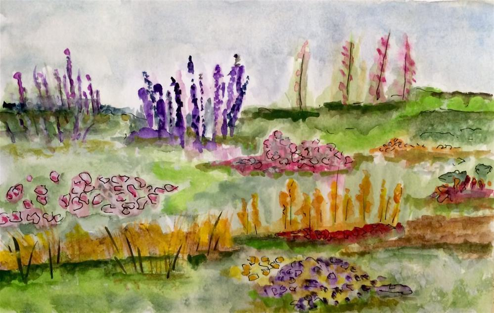 """Summer Garden #2 watercolor 6 x 9"" original fine art by Nancy Beard"