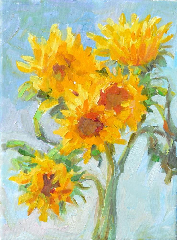 """September Sunflowers,still life,oil on canvas,12x9,price$300"" original fine art by Joy Olney"