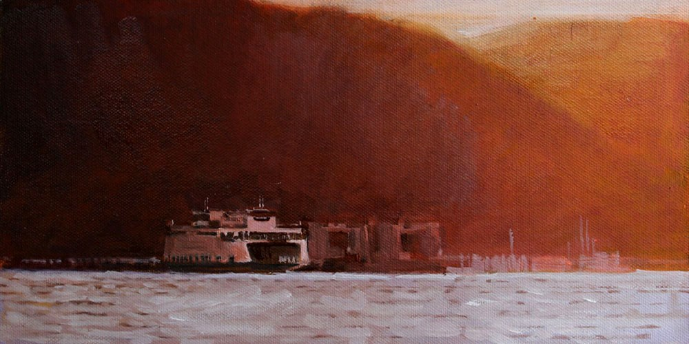 """Red Sunset Hills and Ferry"" original fine art by Gretchen Hancock"