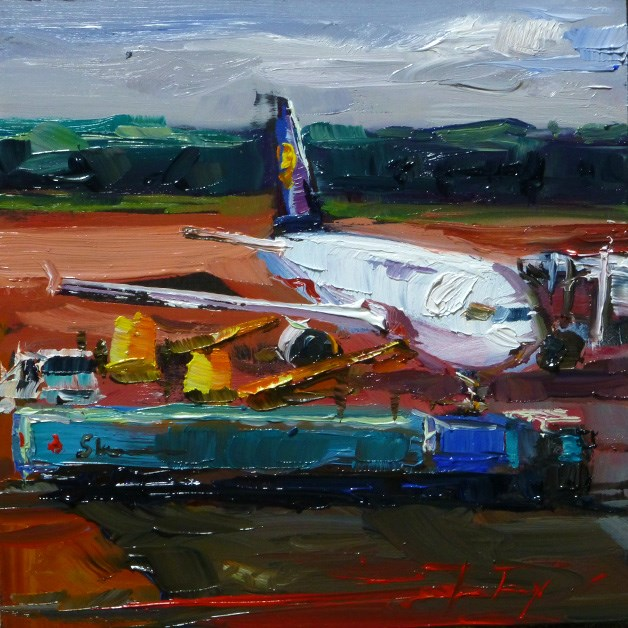 """at the airport"" original fine art by Jurij Frey"