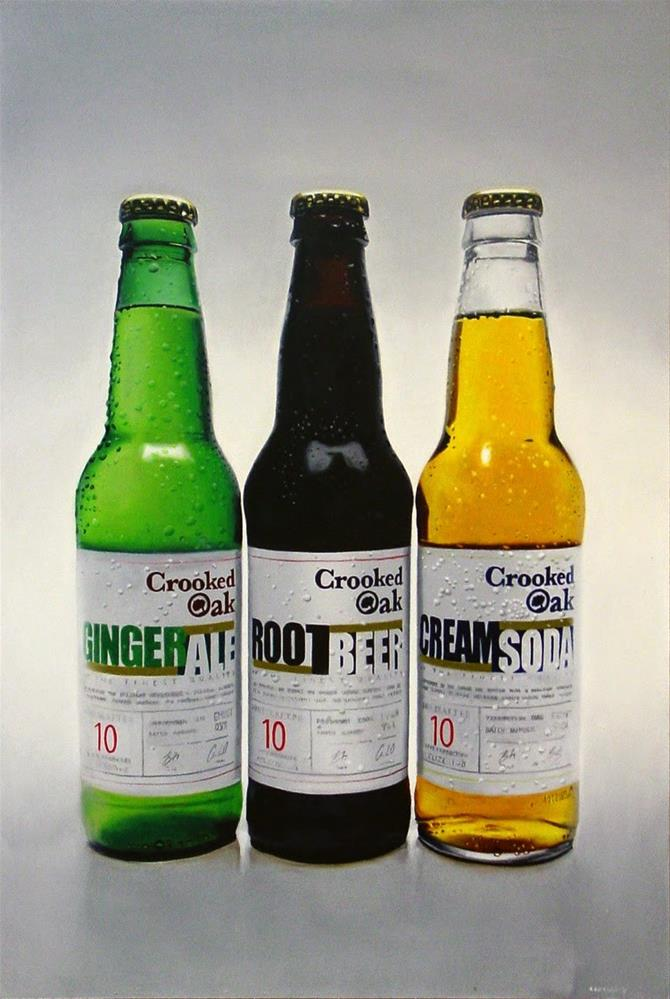 """Crooked Oak- Still Life Painting Of Three Bottles Of Crooked Oak"" original fine art by Gerard Boersma"