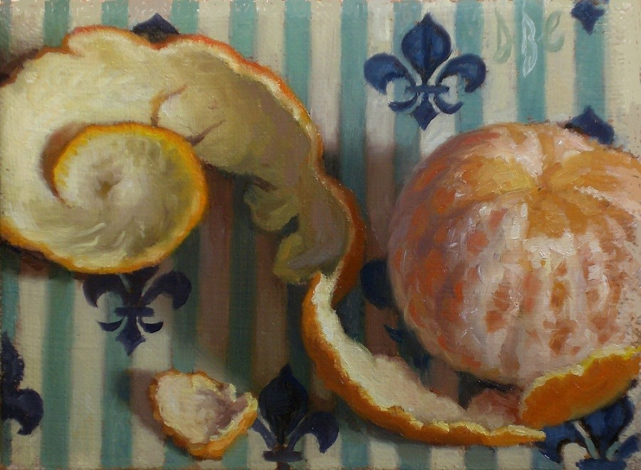 """Peeled Orange and Fleur de Lis"" original fine art by Debra Becks Cooper"