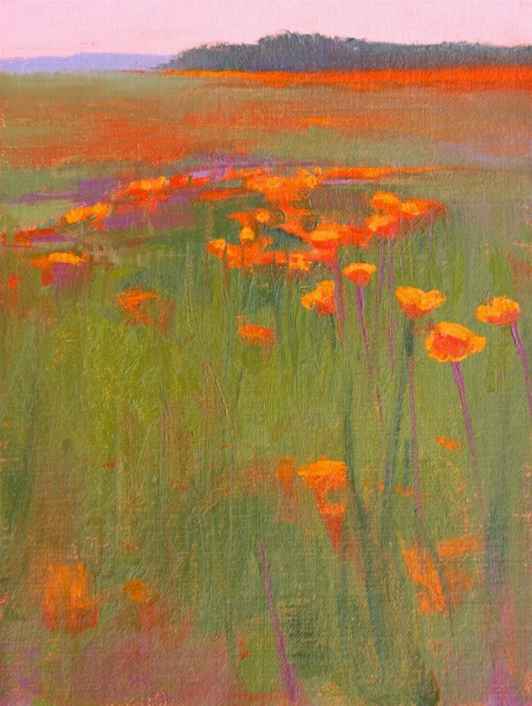 """""""#54 sitting in poppies 2"""" original fine art by Nancy Wallace"""