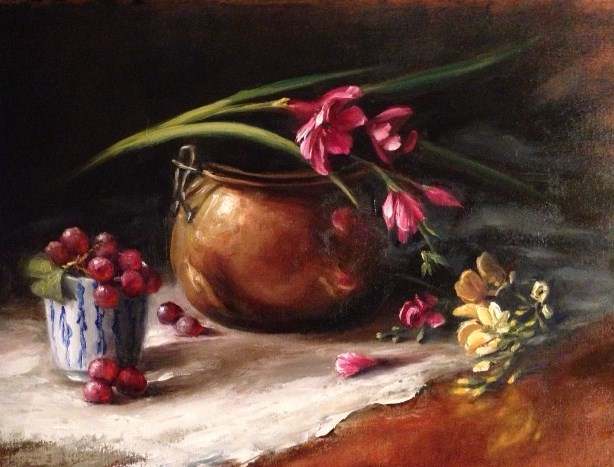 """Snapdragons with Brass"" original fine art by Pamela H. Copeland"