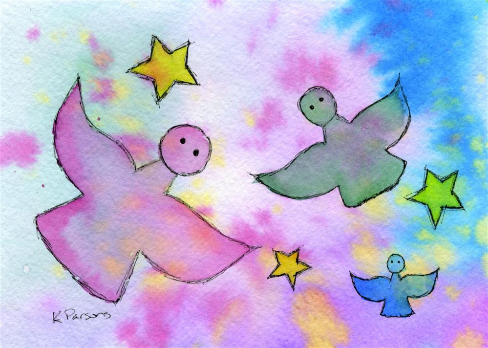 """Angels and Stars"" original fine art by Kali Parsons"