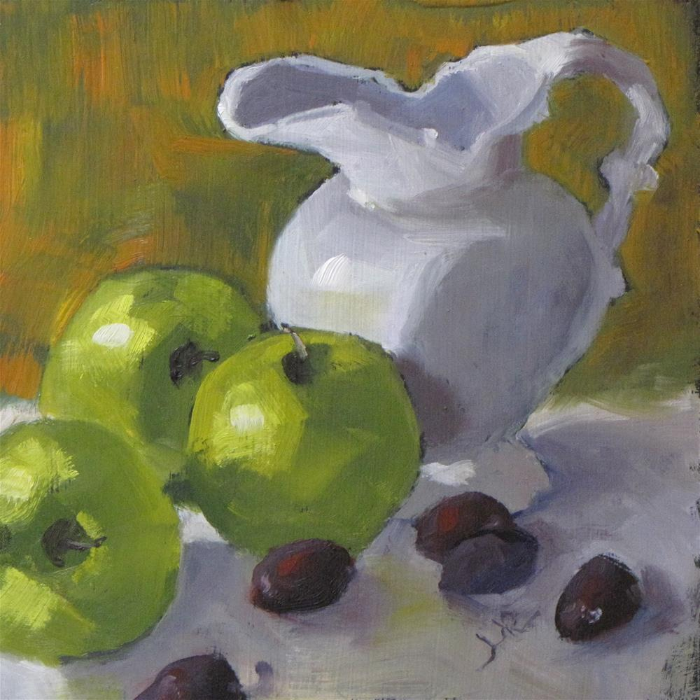 """Apples, grapes and pitcher"" original fine art by Louise Kubista"
