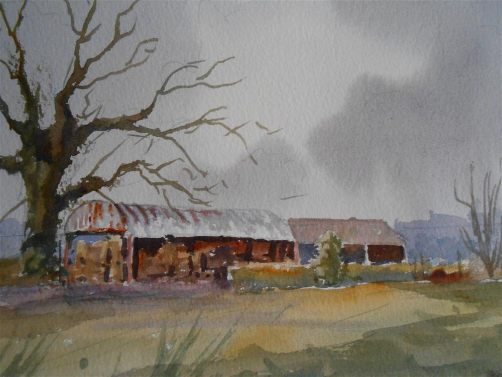 """Clouds over the barn"" original fine art by Graham Findlay"