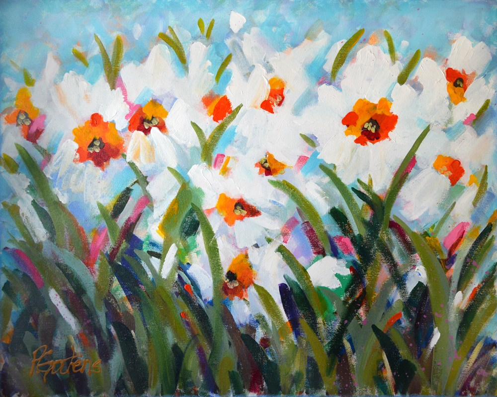 """White Spring Daffodils"" original fine art by Pamela Gatens"
