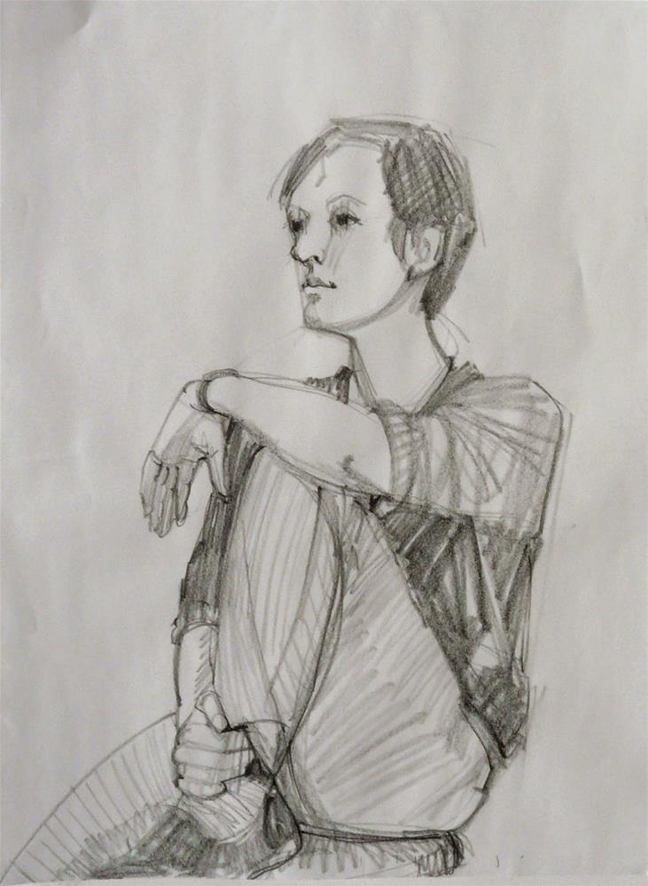 """Sharon,portrait,graphite drawing on paper,24x18,price $200"" original fine art by Joy Olney"